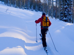 Skier Skinning and Ski Touring in the Backcountry